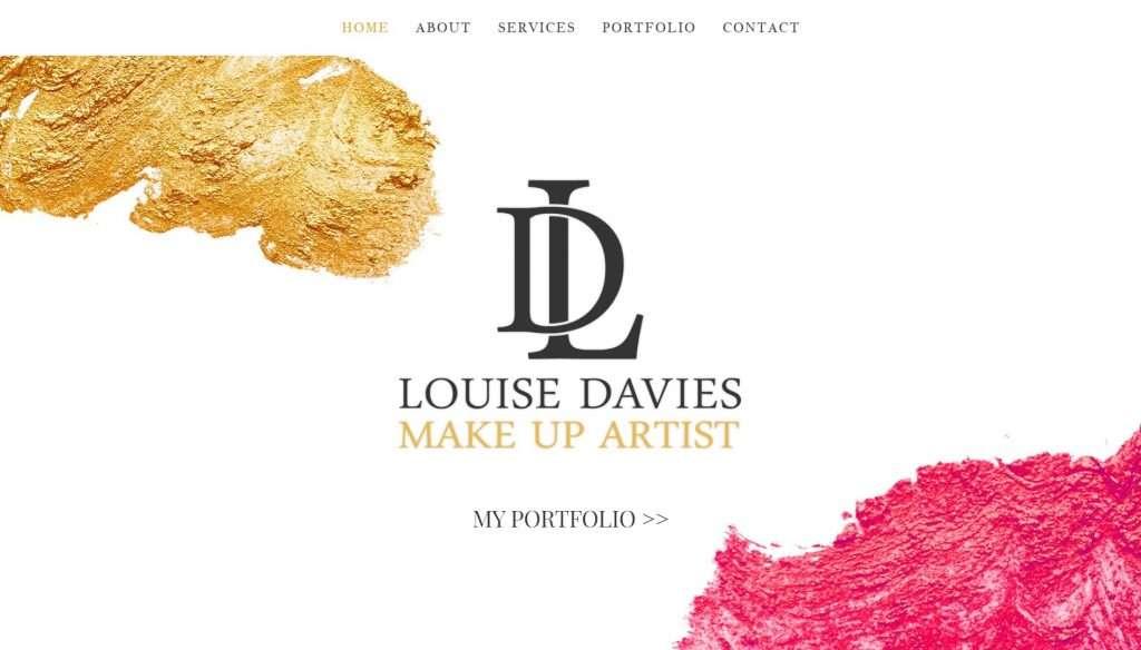 website design for louise davies make up artist