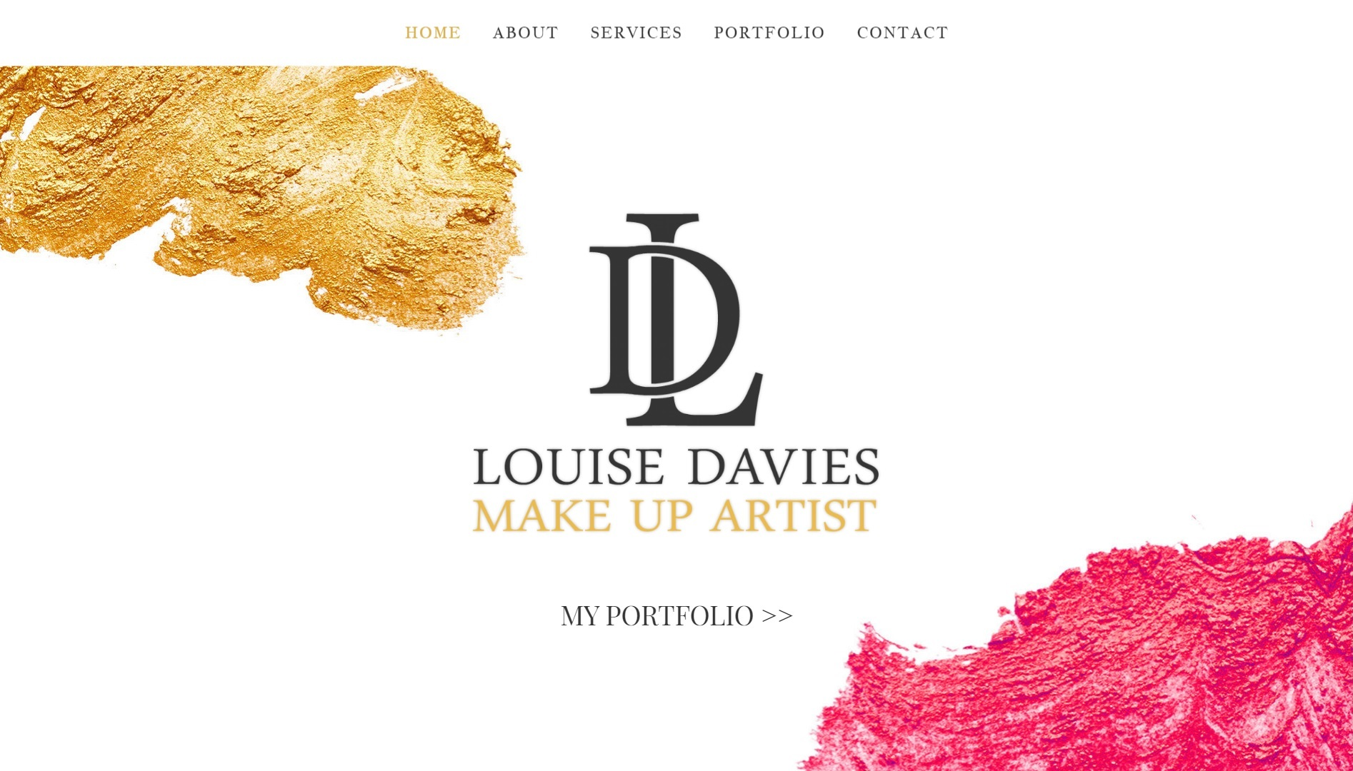 Web site design for louise davies, professional make up artist.
